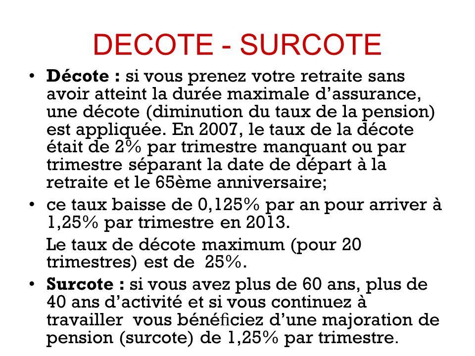 DECOTE - SURCOTE Décote : si vous prenez votre retraite sans avoir atteint la durée maximale dassurance, une décote (diminution du taux de la pension) est appliquée.