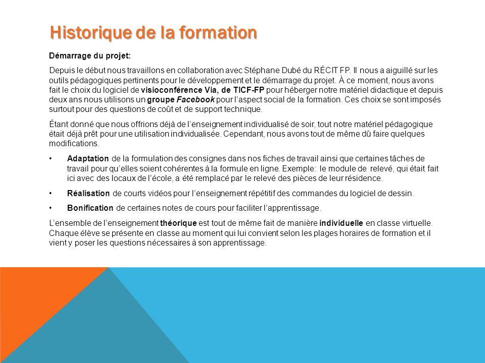 Démarrage du projet: Depuis le début nous travaillons en collaboration avec Stéphane Dubé du RÉCIT FP. Il nous a aiguillé sur les outils pédagogiques