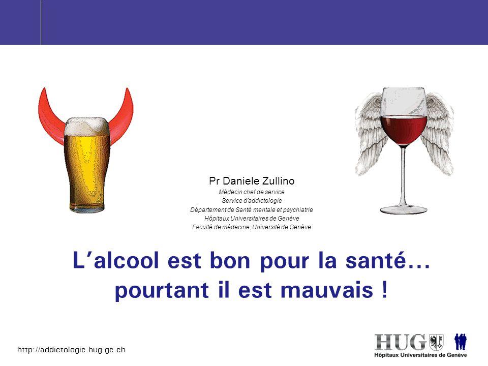 http://addictologie.hug-ge.ch Lalcool est bon pour la santé... pourtant il est mauvais ! Pr Daniele Zullino Médecin chef de service Service daddictolo