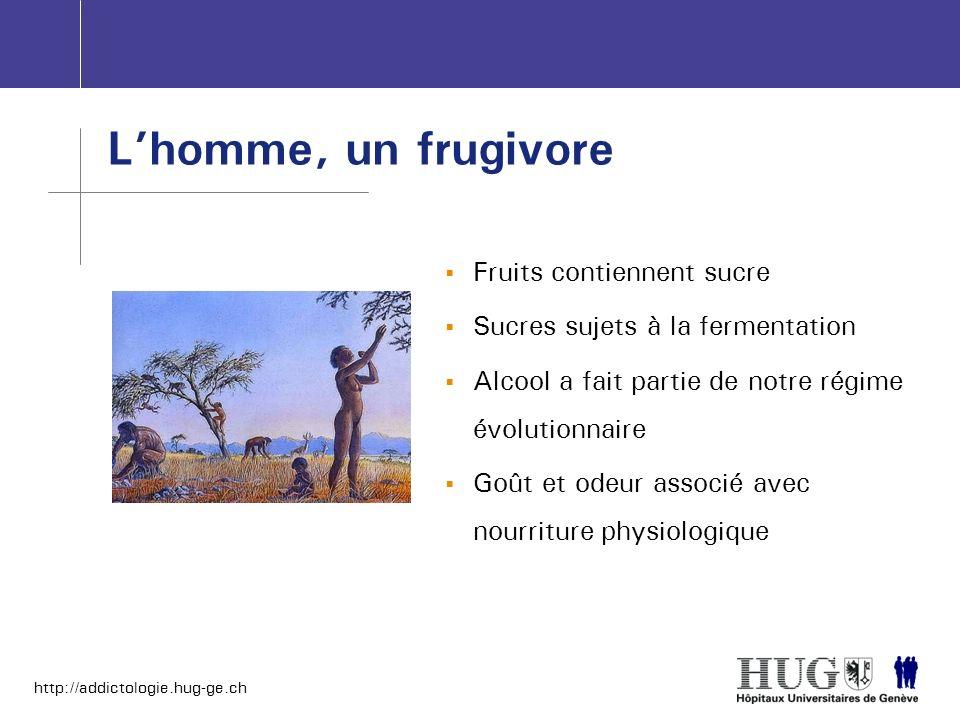 http://addictologie.hug-ge.ch Fruits contiennent sucre Sucres sujets à la fermentation Alcool a fait partie de notre régime évolutionnaire Goût et ode