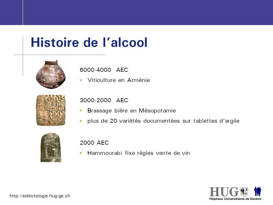 http://addictologie.hug-ge.ch Histoire de lalcool 6000-4000 AEC Viticulture en Arménie 3000-2000 AEC Brassage bière en Mésopotamie plus de 20 variétés