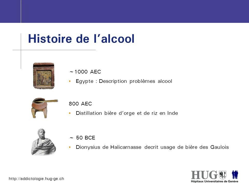 http://addictologie.hug-ge.ch Histoire de lalcool ~1000 AEC Egypte : Description problèmes alcool 800 AEC Distillation bière dorge et de riz en Inde ~