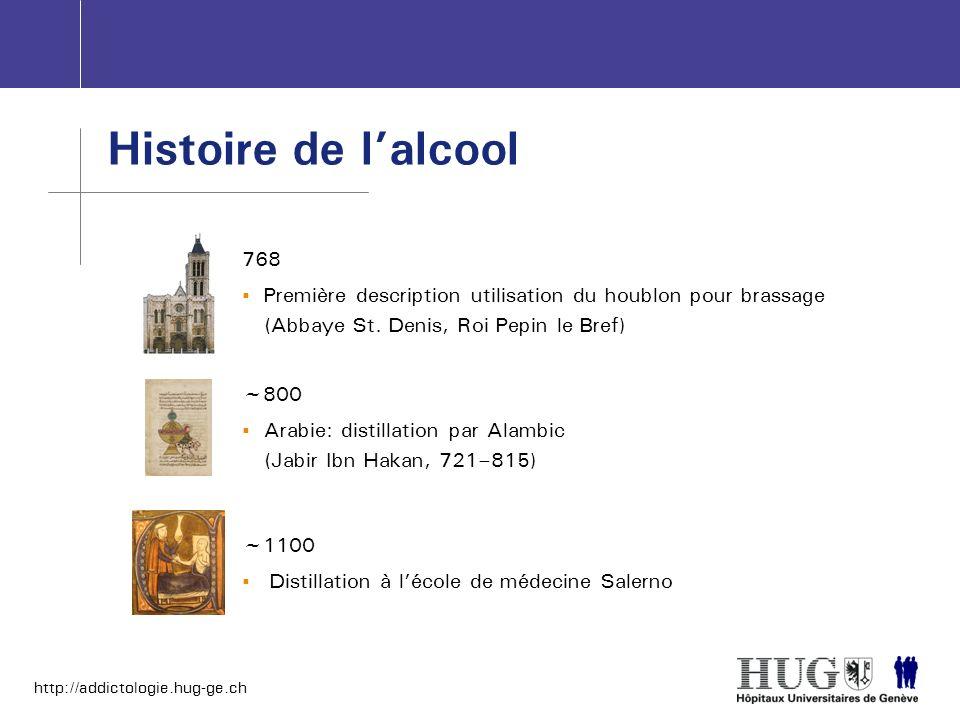 http://addictologie.hug-ge.ch Histoire de lalcool ~1100 Distillation à lécole de médecine Salerno 768 Première description utilisation du houblon pour