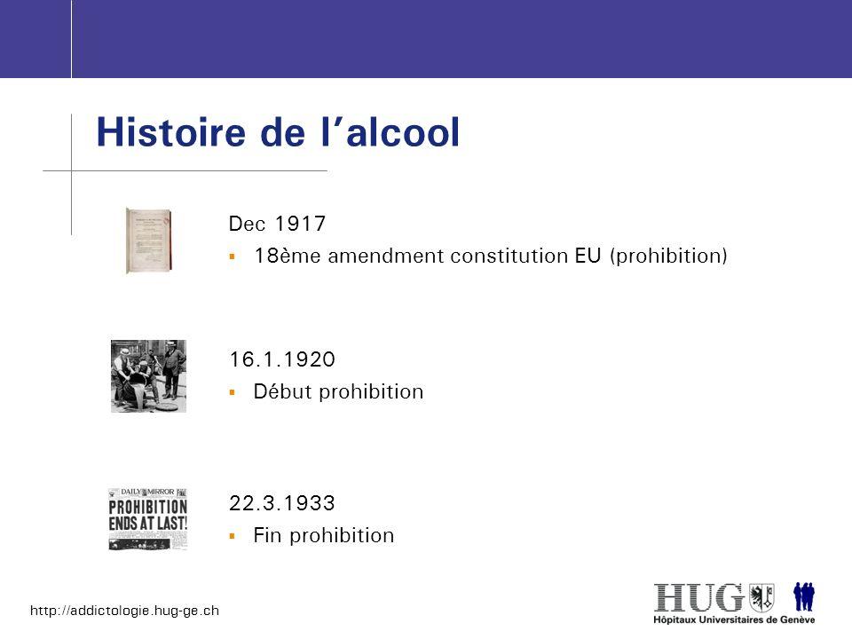 http://addictologie.hug-ge.ch Histoire de lalcool Dec 1917 18ème amendment constitution EU (prohibition) 16.1.1920 Début prohibition 22.3.1933 Fin pro