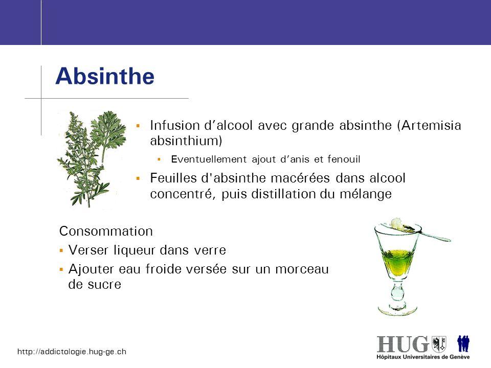 http://addictologie.hug-ge.ch Infusion dalcool avec grande absinthe (Artemisia absinthium) Eventuellement ajout danis et fenouil Feuilles d'absinthe m