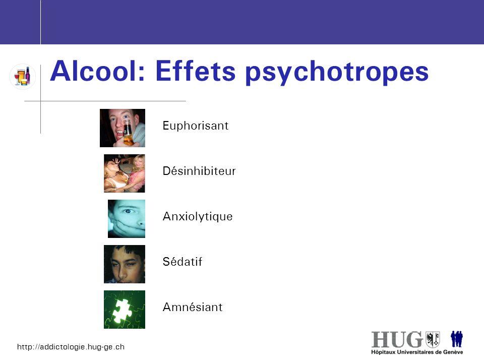 http://addictologie.hug-ge.ch Alcool: Effets psychotropes EuphorisantDésinhibiteurAnxiolytiqueSédatifAmnésiant