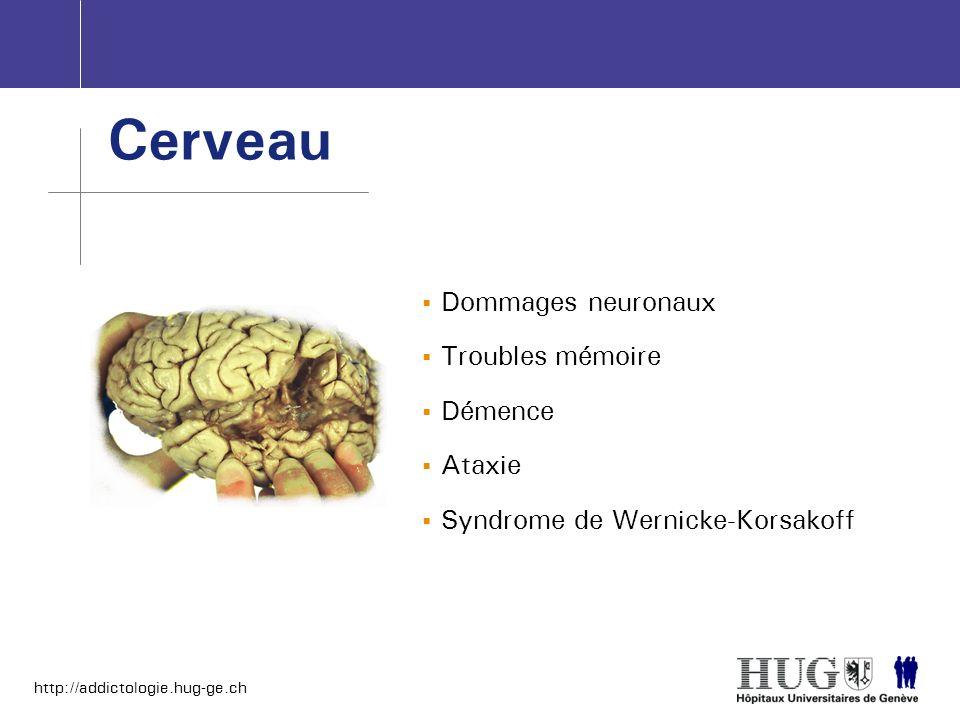 http://addictologie.hug-ge.ch Dommages neuronaux Troubles mémoire Démence Ataxie Syndrome de Wernicke-Korsakoff Cerveau