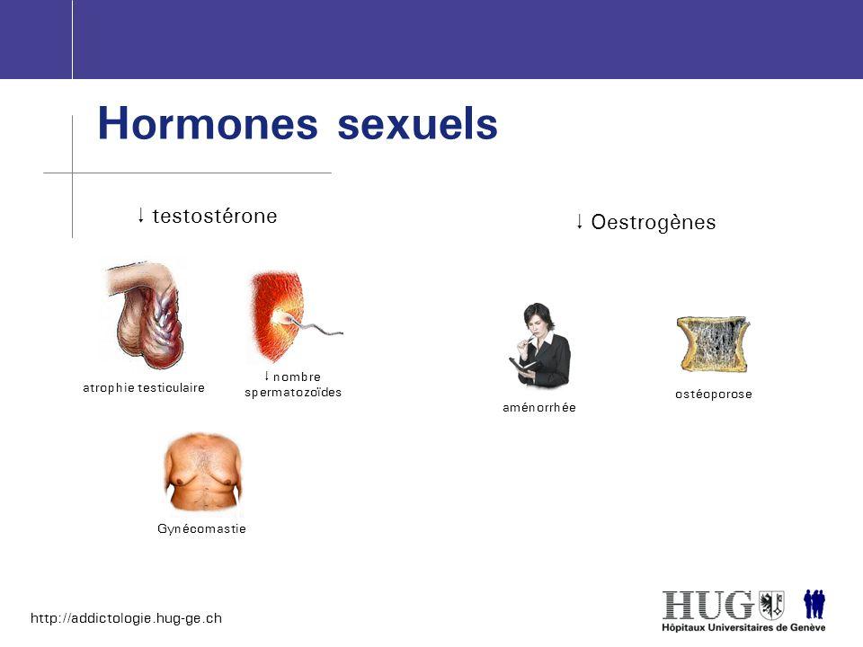 http://addictologie.hug-ge.ch Hormones sexuels testostérone atrophie testiculaire nombre spermatozoïdes Gynécomastie Oestrogènes aménorrhée ostéoporos