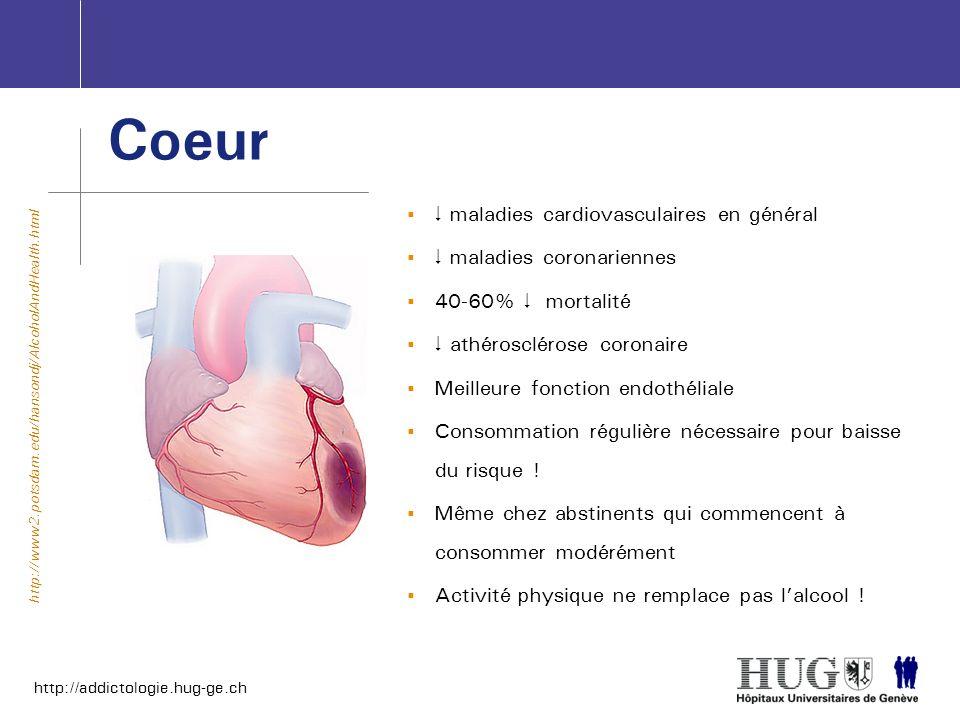 http://addictologie.hug-ge.ch Coeur maladies cardiovasculaires en général maladies coronariennes 40-60% mortalité athérosclérose coronaire Meilleure f