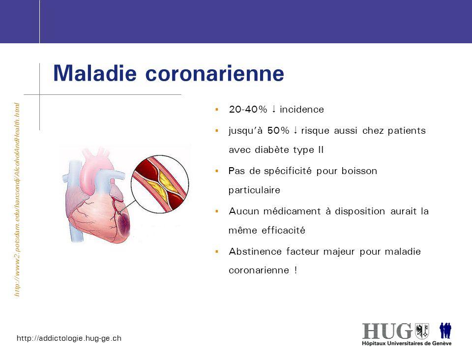 http://addictologie.hug-ge.ch Maladie coronarienne 20-40% incidence jusquà 50% risque aussi chez patients avec diabète type II Pas de spécificité pour