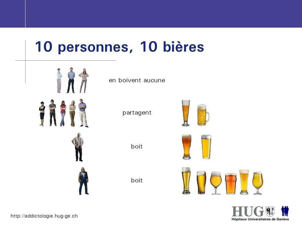 http://addictologie.hug-ge.ch 10 personnes, 10 bières en boivent aucune partagent boit