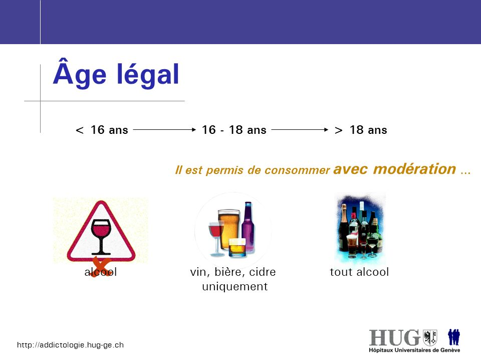 http://addictologie.hug-ge.ch Il est permis de consommer avec modération … Âge légal alcool < 16 ans vin, bière, cidre uniquement tout alcool 16 - 18