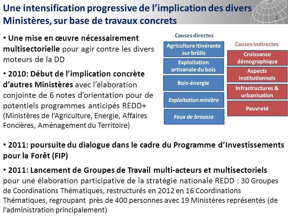 4 Un renforcement important de la coopération intersectorielle au travers de La Stratégie-cadre et du Fonds National REDD+ Stratégie-cadre nationale REDD+: 7 piliers stratégiques, à intégrer au coeur de la stratégie de développement du pays Une élaboration sappuyant notamment sur les Coordinations Thématiques Consultations/validation par les Cabinets ministériels (11 Ministères/Institutions) Validation par le Comité national Adoption de la Stratégie-cadre en Conseil des Ministres (novembre 2012) Fonds National REDD+ Implication forte et directe du Ministère des Finances Présentation à la Communauté Internationale à la CoP18 respectivement par le Ministre de lEnvironnement et le Vice-Ministre des Finances, dans le cadre dune Délégation de très haut niveau menée par le Vice-premier Ministre