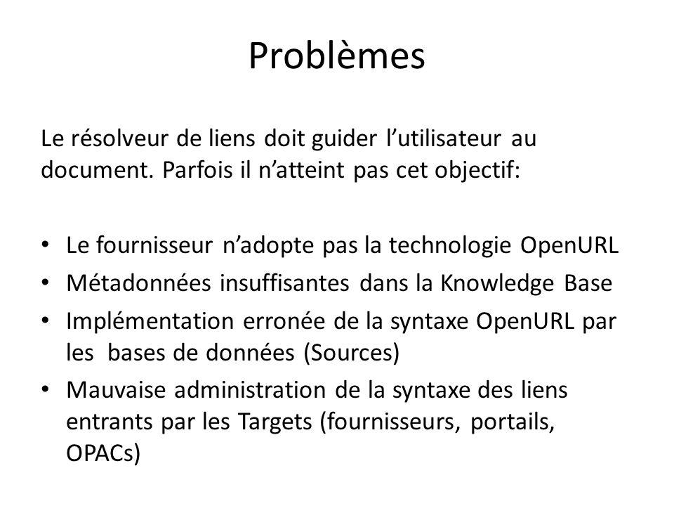 Problèmes Le résolveur de liens doit guider lutilisateur au document. Parfois il natteint pas cet objectif: Le fournisseur nadopte pas la technologie