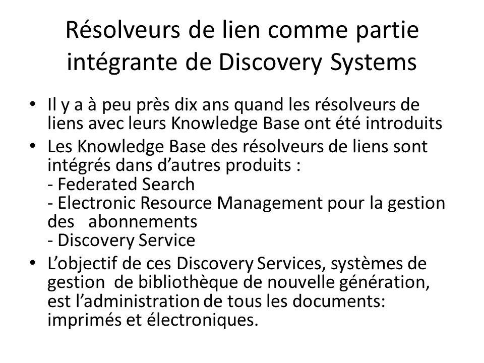 Résolveurs de lien comme partie intégrante de Discovery Systems Il y a à peu près dix ans quand les résolveurs de liens avec leurs Knowledge Base ont