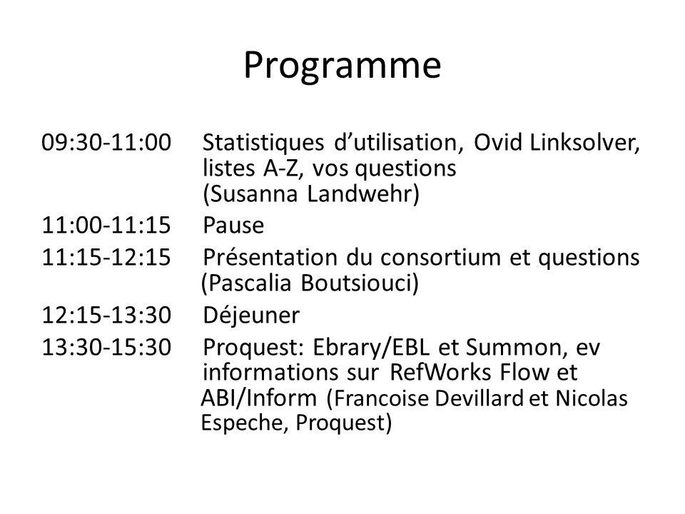Programme 09:30-11:00 Statistiques dutilisation, Ovid Linksolver, listes A-Z, vos questions (Susanna Landwehr) 11:00-11:15 Pause 11:15-12:15 Présentat