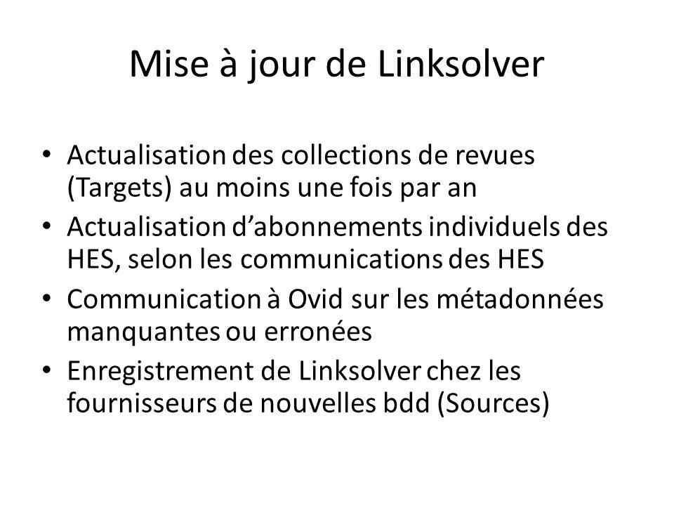 Mise à jour de Linksolver Actualisation des collections de revues (Targets) au moins une fois par an Actualisation dabonnements individuels des HES, s