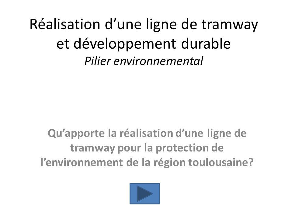 Réalisation dune ligne de tramway et développement durable Pilier environnemental Quapporte la réalisation dune ligne de tramway pour la protection de