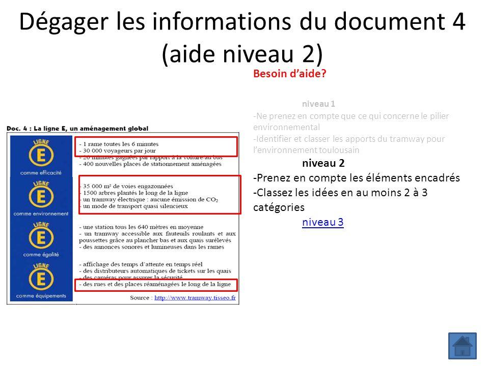 Dégager les informations du document 4 (aide niveau 2) Besoin daide? niveau 1 -Ne prenez en compte que ce qui concerne le pilier environnemental -Iden
