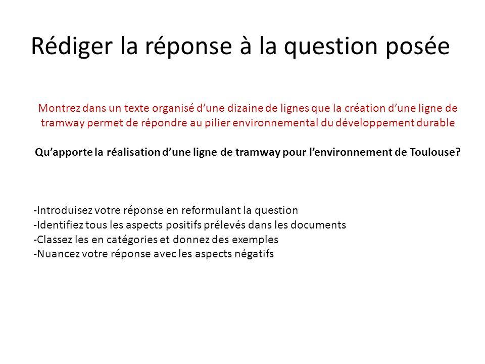 Rédiger la réponse à la question posée Montrez dans un texte organisé dune dizaine de lignes que la création dune ligne de tramway permet de répondre