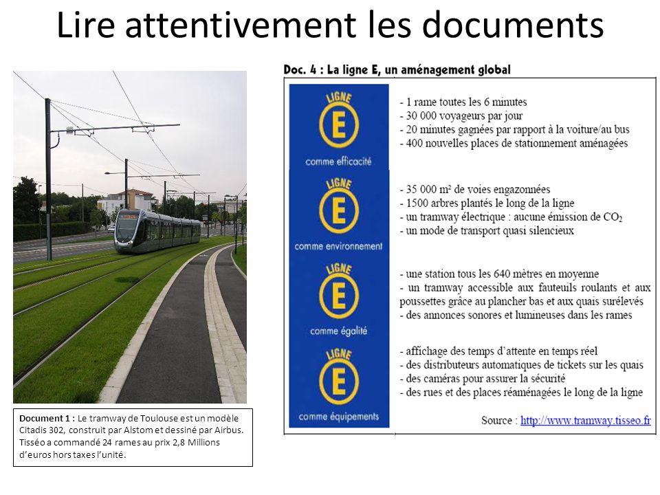 Lire attentivement les documents Document 1 : Le tramway de Toulouse est un modèle Citadis 302, construit par Alstom et dessiné par Airbus. Tisséo a c