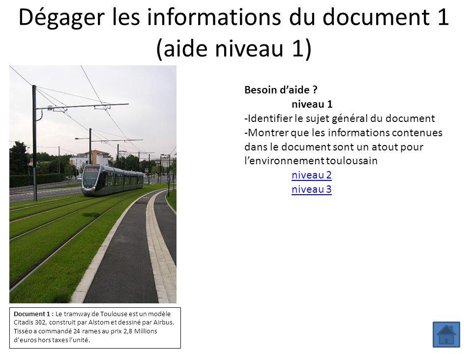 Dégager les informations du document 1 (aide niveau 1) Besoin daide ? niveau 1 -Identifier le sujet général du document -Montrer que les informations
