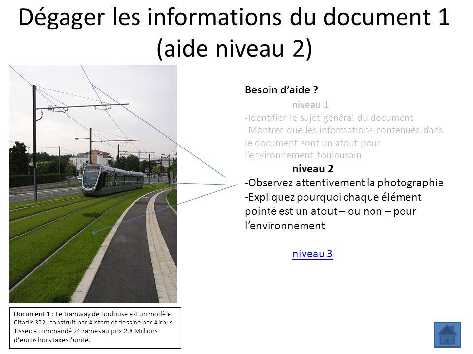 Dégager les informations du document 1 (aide niveau 2) Besoin daide ? niveau 1 -Identifier le sujet général du document -Montrer que les informations