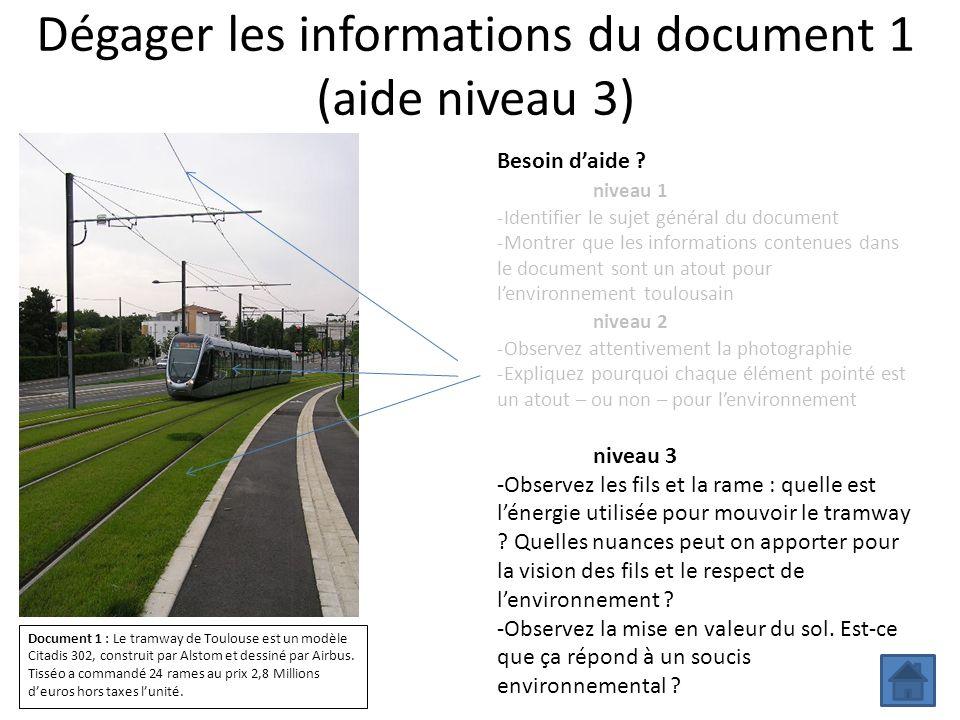 Dégager les informations du document 1 (aide niveau 3) Besoin daide ? niveau 1 -Identifier le sujet général du document -Montrer que les informations
