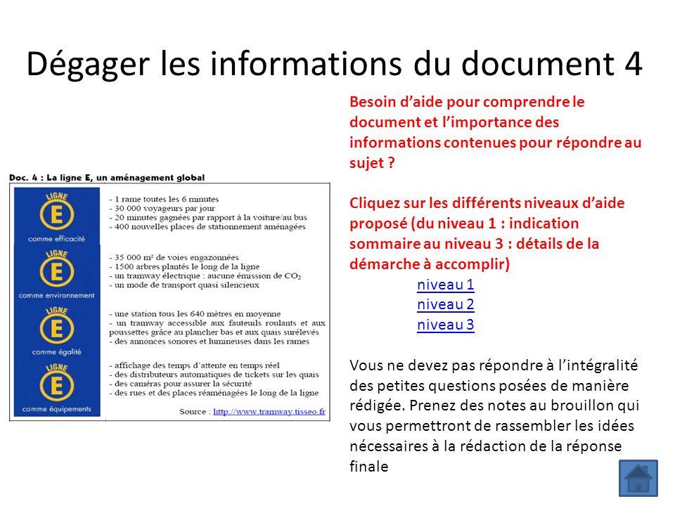 Dégager les informations du document 4 Besoin daide pour comprendre le document et limportance des informations contenues pour répondre au sujet ? Cli
