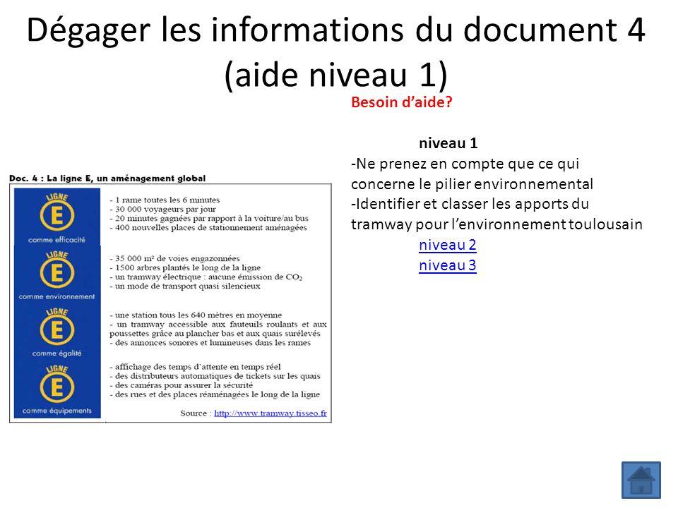 Dégager les informations du document 4 (aide niveau 1) Besoin daide? niveau 1 -Ne prenez en compte que ce qui concerne le pilier environnemental -Iden