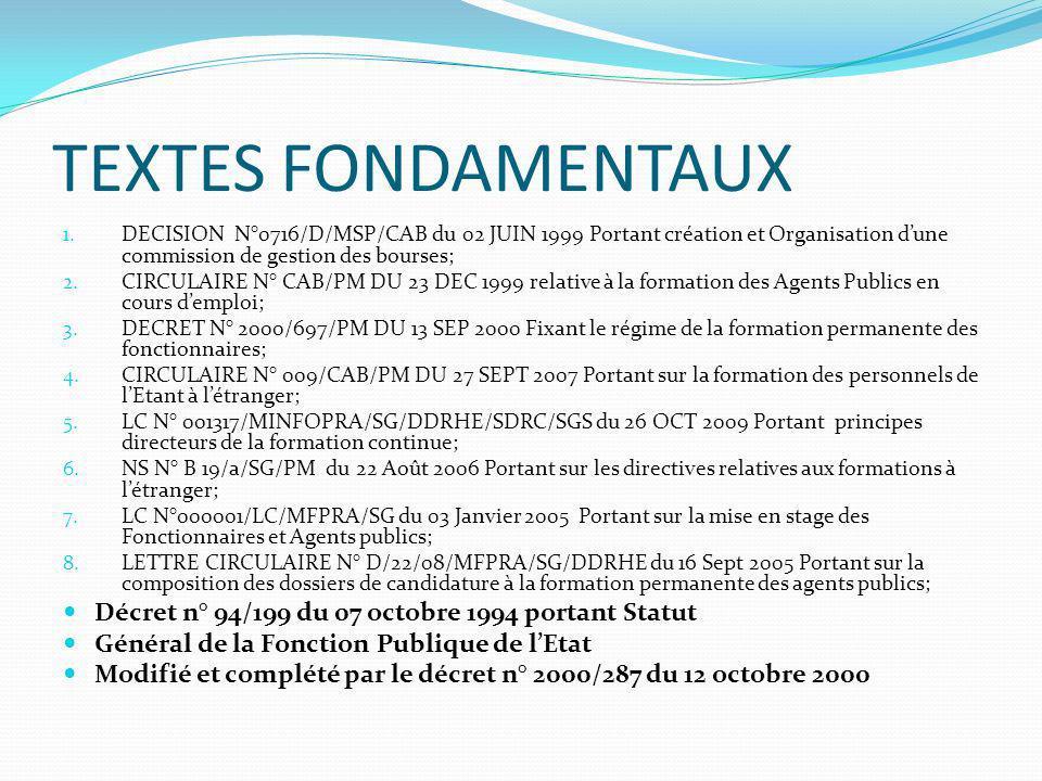 TEXTES FONDAMENTAUX 1. DECISION N°0716/D/MSP/CAB du 02 JUIN 1999 Portant création et Organisation dune commission de gestion des bourses; 2. CIRCULAIR