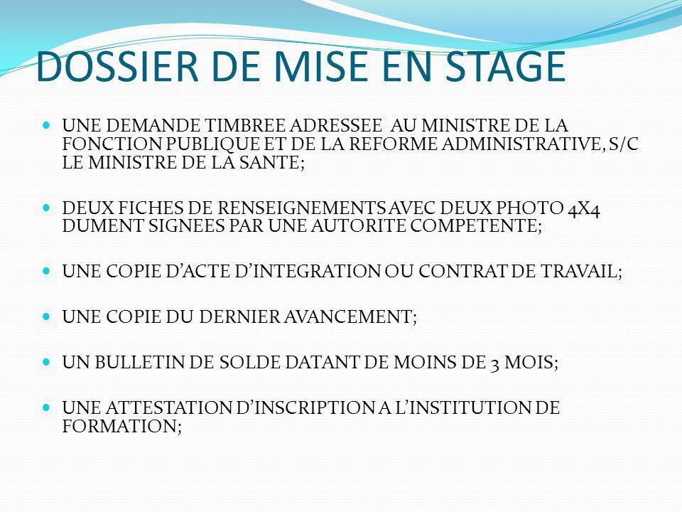 DOSSIER DE MISE EN STAGE UNE DEMANDE TIMBREE ADRESSEE AU MINISTRE DE LA FONCTION PUBLIQUE ET DE LA REFORME ADMINISTRATIVE, S/C LE MINISTRE DE LA SANTE; DEUX FICHES DE RENSEIGNEMENTS AVEC DEUX PHOTO 4X4 DUMENT SIGNEES PAR UNE AUTORITE COMPETENTE; UNE COPIE DACTE DINTEGRATION OU CONTRAT DE TRAVAIL; UNE COPIE DU DERNIER AVANCEMENT; UN BULLETIN DE SOLDE DATANT DE MOINS DE 3 MOIS; UNE ATTESTATION DINSCRIPTION A LINSTITUTION DE FORMATION;