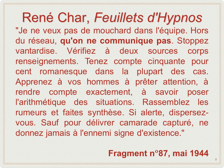 René Char, Feuillets d Hypnos Je ne veux pas de mouchard dans l équipe.
