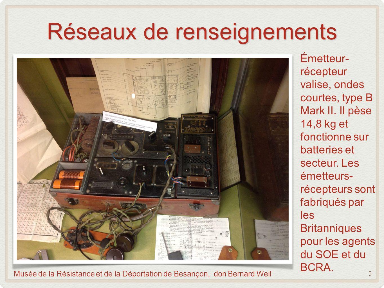 Réseaux de renseignements 5 Musée de la Résistance et de la Déportation de Besançon, don Bernard Weil Émetteur- récepteur valise, ondes courtes, type B Mark II.