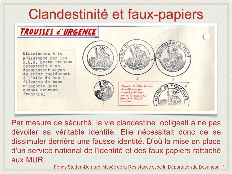 Clandestinité et faux-papiers 9 Par mesure de sécurité, la vie clandestine obligeait à ne pas dévoiler sa véritable identité.