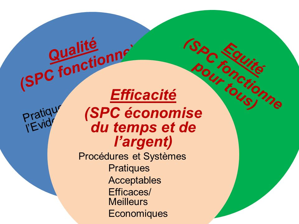 Qualité (SPC fonctionne) Pratiques basées sur lEvidence Behavior Support Family Systems Social skills development Equité (SPC fonctionne pour tous) All Students Race/ Ethnicity Disability Gender Sexual Preference Efficacité (SPC économise du temps et de largent) Procédures et Systèmes Pratiques Acceptables Efficaces/ Meilleurs Economiques