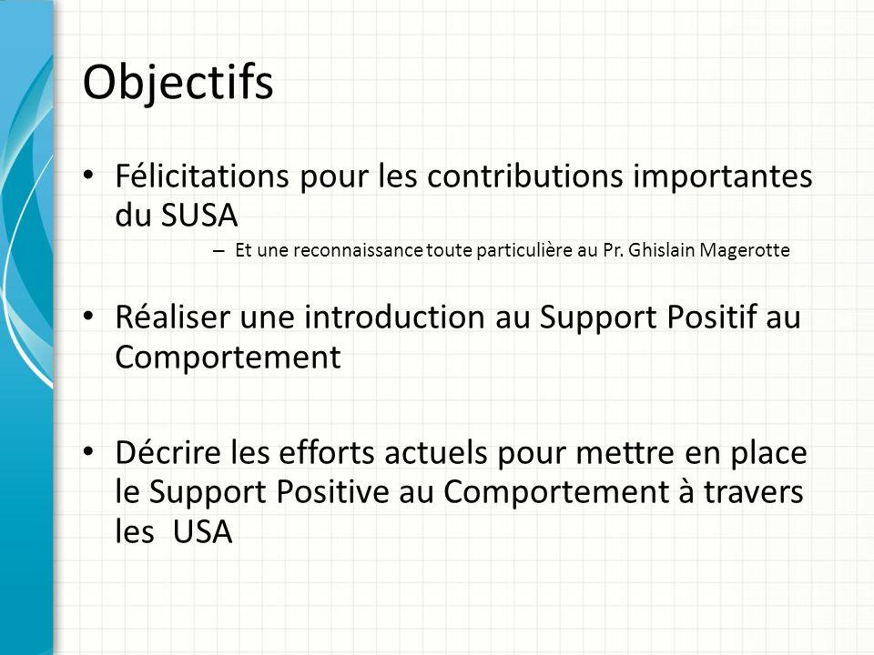 Objectifs Félicitations pour les contributions importantes du SUSA – Et une reconnaissance toute particulière au Pr. Ghislain Magerotte Réaliser une i