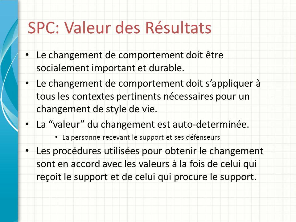SPC: Valeur des Résultats Le changement de comportement doit être socialement important et durable. Le changement de comportement doit sappliquer à to