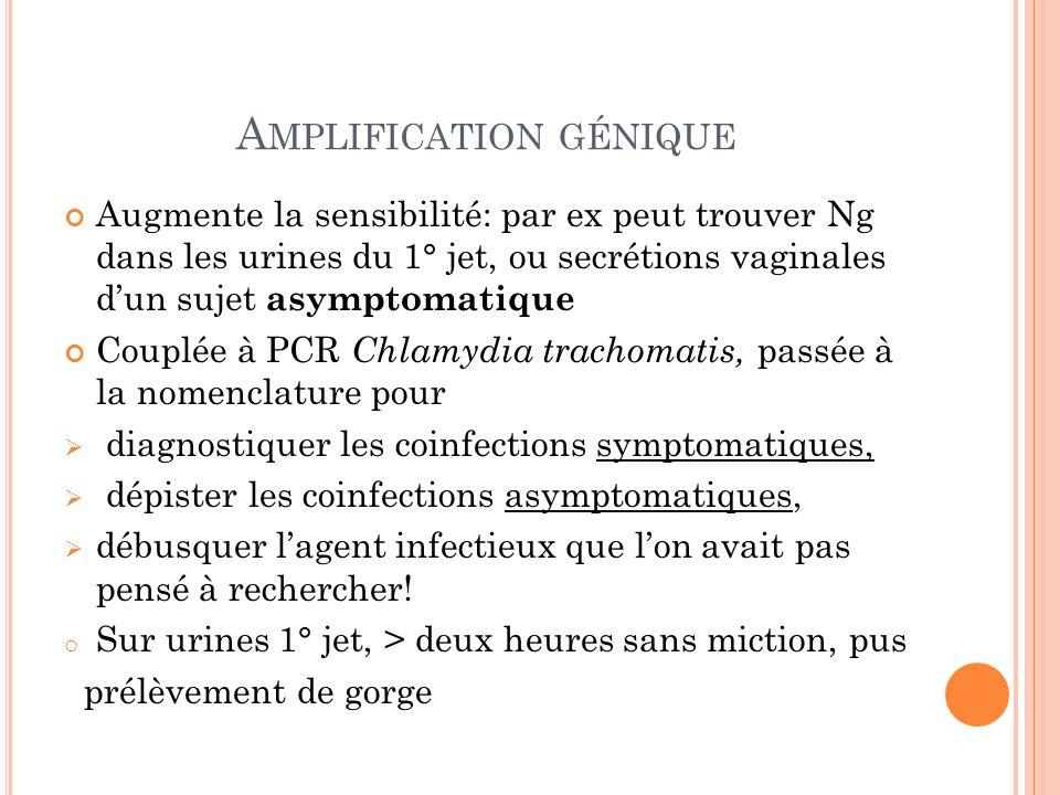 A MPLIFICATION GÉNIQUE Augmente la sensibilité: par ex peut trouver Ng dans les urines du 1° jet, ou secrétions vaginales dun sujet asymptomatique Cou