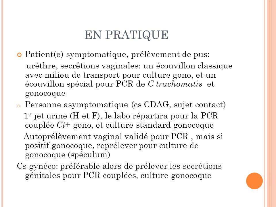 EN PRATIQUE Patient(e) symptomatique, prélèvement de pus: uréthre, secrétions vaginales: un écouvillon classique avec milieu de transport pour culture