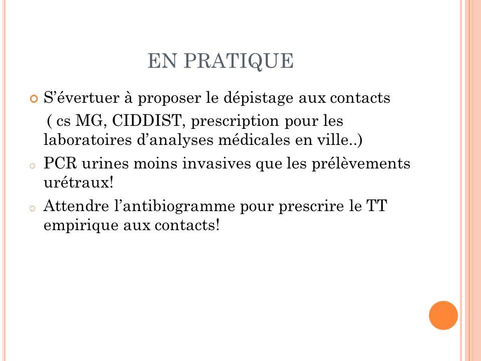 EN PRATIQUE Sévertuer à proposer le dépistage aux contacts ( cs MG, CIDDIST, prescription pour les laboratoires danalyses médicales en ville..) o PCR