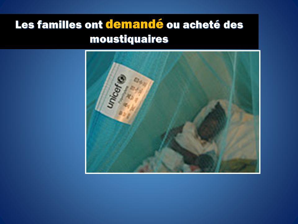 Les familles ont ou acheté des moustiquaires Les familles ont demandé ou acheté des moustiquaires