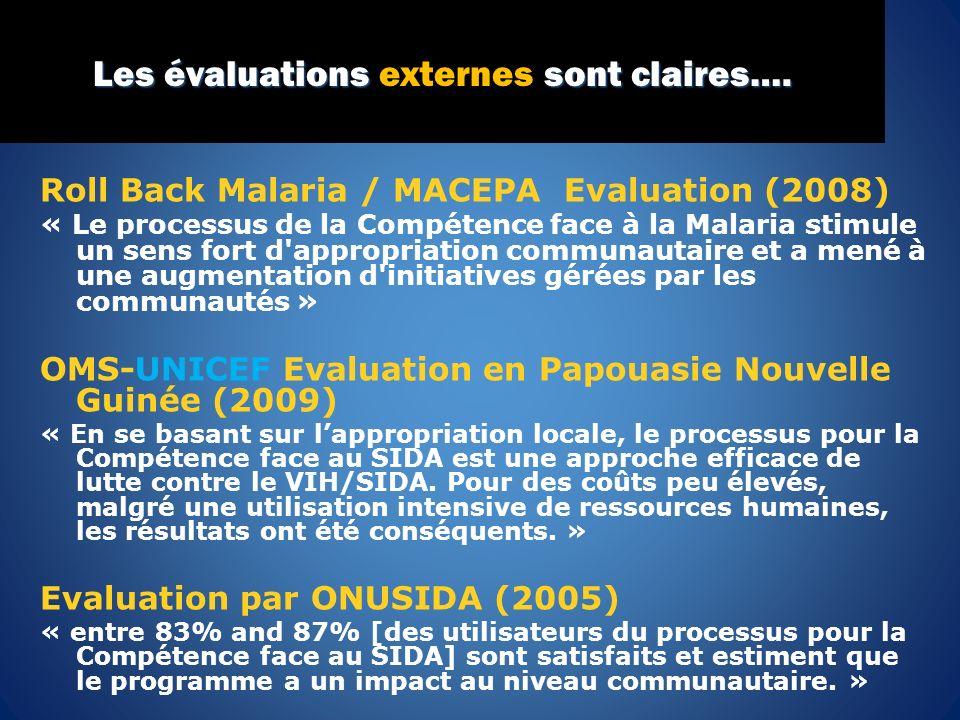 Roll Back Malaria / MACEPA Evaluation (2008) « Le processus de la Compétence face à la Malaria stimule un sens fort d'appropriation communautaire et a
