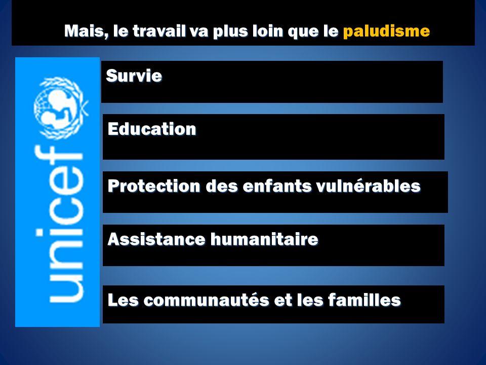Survie Education Protection des enfants vulnérables Assistance humanitaire Les communautés et les familles Mais, le travail va plus loin que le Mais, le travail va plus loin que le paludisme