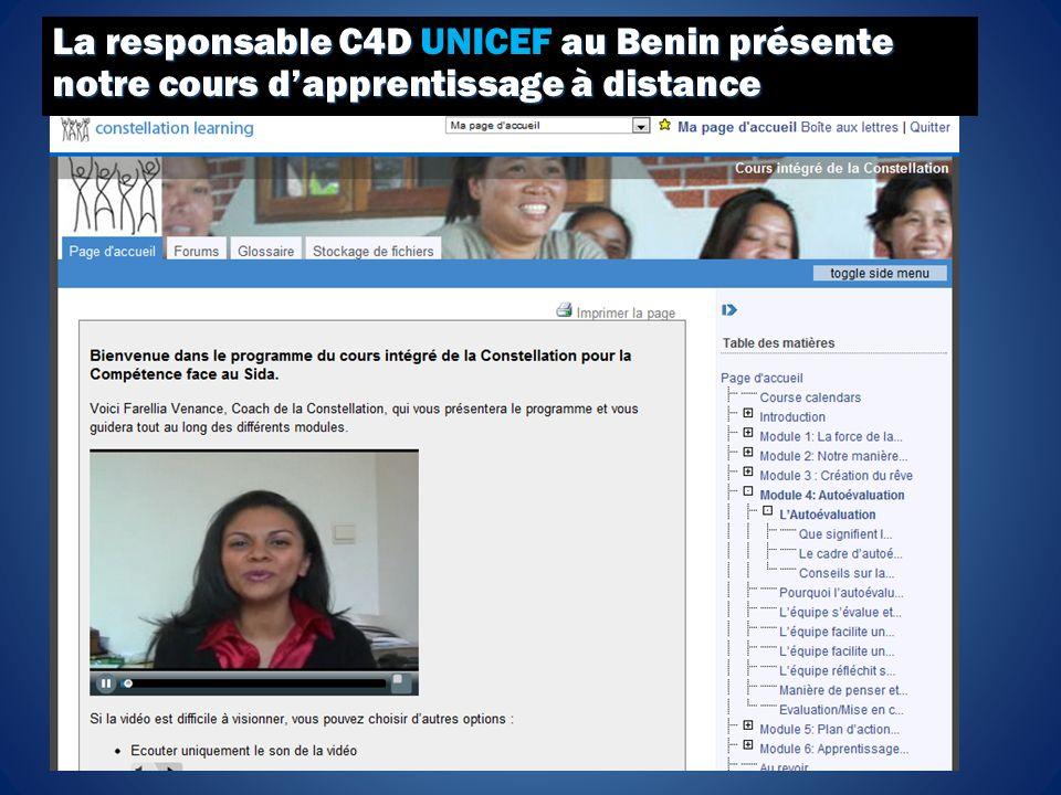La responsable C4D au Benin présente notre cours dapprentissage à distance La responsable C4D UNICEF au Benin présente notre cours dapprentissage à distance