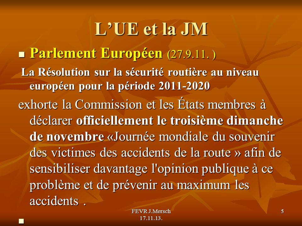 LUE et la JM Parlement Européen (27.9.11. ) Parlement Européen (27.9.11.