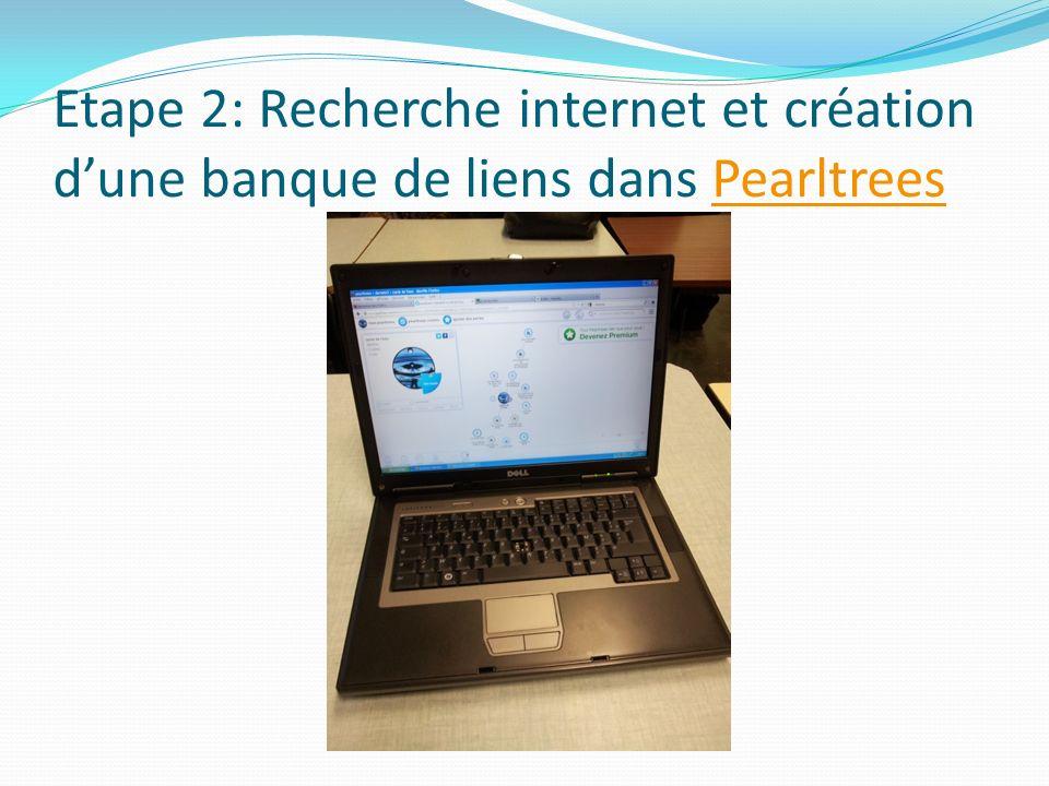 Etape 2: Recherche internet et création dune banque de liens dans PearltreesPearltrees