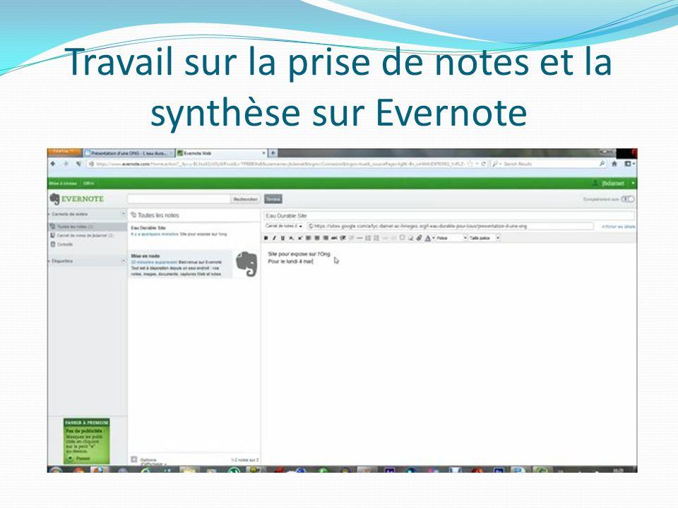 Travail sur la prise de notes et la synthèse sur Evernote