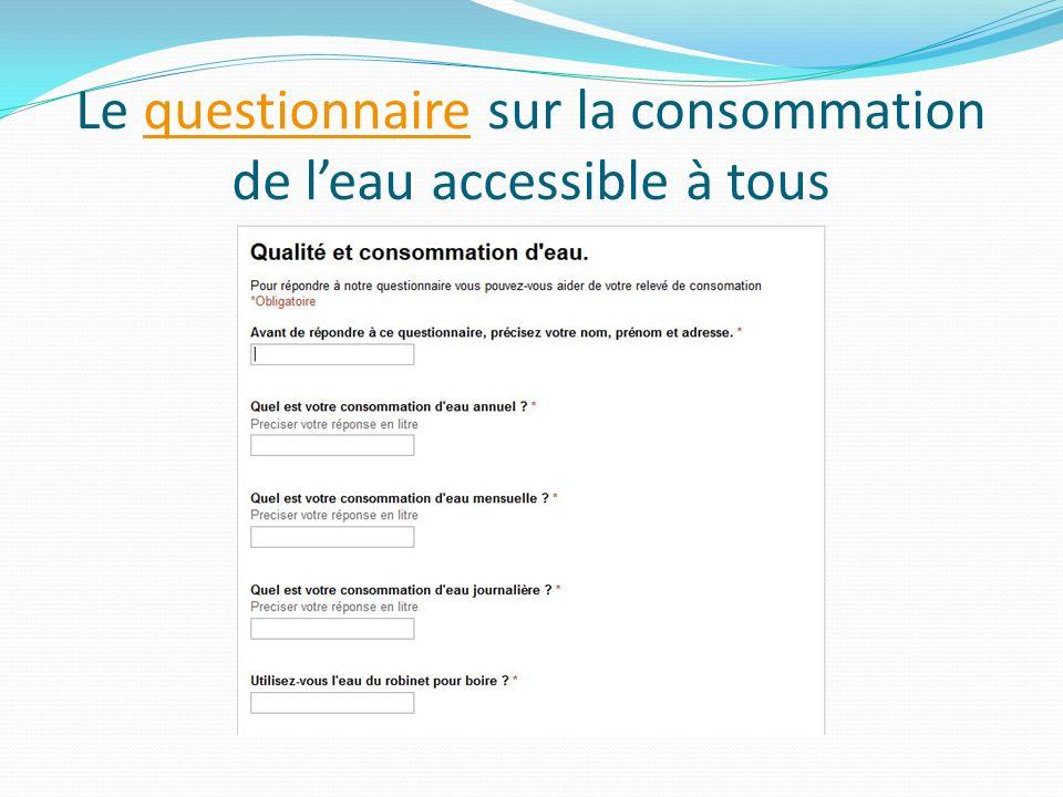 Le questionnaire sur la consommation de leau accessible à tousquestionnaire