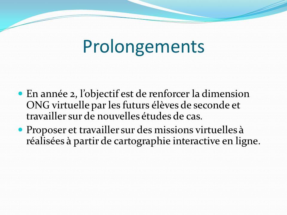 Prolongements En année 2, lobjectif est de renforcer la dimension ONG virtuelle par les futurs élèves de seconde et travailler sur de nouvelles études de cas.